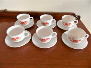 Vintage set x 6 Arcopal France milk glass tea cups and saucers Set Red Poppy