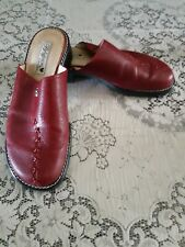 Brighton Red Leather Mules Slides Size 9.5