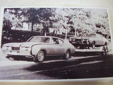 1968 OLDSMOBILE HURST  CAR WITH RACE CAR ON TRAILER    11 X 17  PHOTO  PICTURE