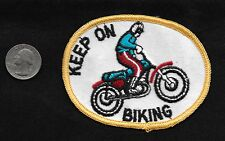 Vintage 60-70s Motorcycle Keep On Biking STUNT Stunting Racing Collectors Patch