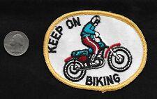 Vintage 60-70s Motorcycle Keep On Biking STUNT Stunting Racing Collectors Patch