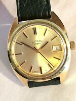 Large Vintage Swiss ROTARY Gold Plated Mens Dress Watch ft. Date Aperture