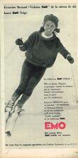 T - Publicité Advertising 1962 Vetements de ski EMO avec Francine Bréaud