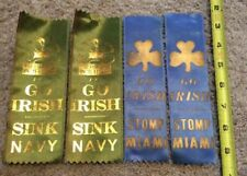 4 VINTAGE NOTRE DAME THE FIGHTING IRISH GO IRISH RIBBONS