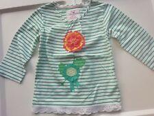 Girls John Rocha long sleeved t-shirt. White/Green stripes. Flower applique.