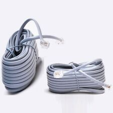 Lot5 25ft RJ11 modular 6P4C 4wire 4c Phone/Telephone Line Flat Cord/Cable{SILVER
