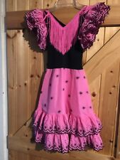 """Pink Black Girls Gypsy Dress Age 6 Years Chest 22"""" Lovely Little Party Dress"""