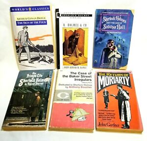 Vintage Lot Of 6 Sherlock Holmes Themed Paperbacks by Various Authors Old Pulp