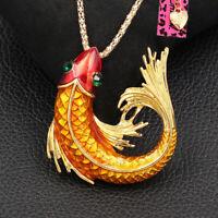 Enamel Crystal Carp Fish Pendant Betsey Johnson Chain Necklace/Brooch Pin Gift
