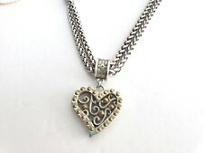 BRIGHTON Silver Gold Double Strand HEART TOGGLE NECKLACE