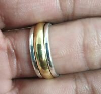 Solid 925 Sterling Silver Band& Brass Spinner Ring Jewelry Handmade All US Size