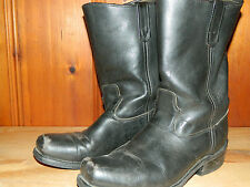 1980's Double H Black Motorcyle Pull Up Boots Men's Size 10D Made in Usa (used)