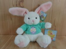 "WHITE BUNNY 9"" Plush Stuffed Animal GREEN KNIT EGG SWEATER 1998 Fiesta Easter"