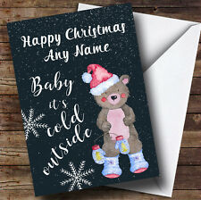 Teddy In Snowfall Chalk Effect Personalised Christmas Card