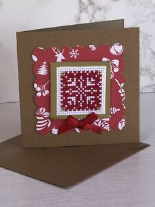 Completed Cross Stitch, Christmas Card 4x4 Inch.