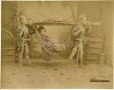 Japon, sedan chair vintage albumen print, some dommages Tirage albuminé aq