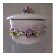 Bonbonnière céramique porcelaine barbotine ITALY art nouveau déco PN France N24