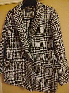 Talbots Blazer Jacket Sz 14 P Houndstooth Plaid Black Ivory Wool Blend Lined NWT