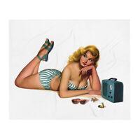 1940s Bathing Beauty WW2 Era Pin-Up Retro Custom 50'' x 60'' Throw Blanket