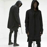 Mens hooded jacket long cardigan black punk hoodie Coat Trench Outwear Sbox