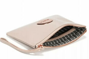MIMCO Pancake Medium Pouch Patent Leather Rose Gold Logo Wallet Clutch Bag BNWT