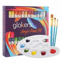 Acrylic Paint Set 24 Rich Colors Non Toxic With 3 Paint Brushes & Palette