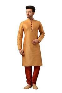 Traditional Wear Men's Dupion Silk Kurta Pajama Kurta Set Ethnic Indian Dress
