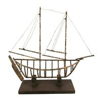 """Vintage Wrought Iron Metal Art Sculpture of Sailboat Boat Wood Base 18.75"""" Tall"""