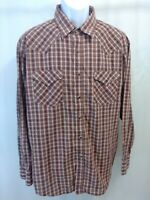 Pendleton Frontier Pearl Snap Long Sleeve Red Brown Plaid Shirt Mens XL Superb