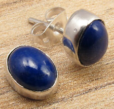DELICATE STUD Earrings ! Natural LAPIS LAZULI Gem Silver Plated Perfect Jewelry