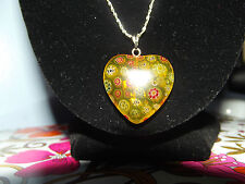 Millefiori Glass Heart Pendant Bead with Sterling Silver chain yellow gold multi