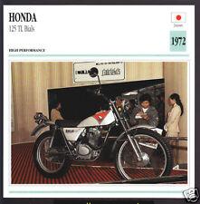 1972 Honda 125cc TL Bials (122cc) Japan Trials Bike Motorcycle Photo Spec Card