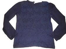 Topolino tolles Langarm Shirt Gr. 128 blau mit Spitze vorn !!