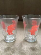 "Vintage pink elephant glasses Depression Glass set of 2   3"" tall"