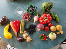 Large Lot Vibrantly Colored Realistic Papier Mache Fruits and Vegetables