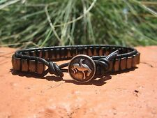 Mens Therapy Black Leather Black Mangets  Surf Sports Bracelet Rodeo Cowboy