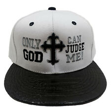 ONLY GOD CAN JUDGE ME CROSS Embroidered Snakeskin Texture Brim Snabback Cap