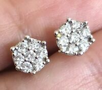 Designer 18ct Yellow Gold Diamond Earrings 0.50ct Daisy Cluster Studs 8mm