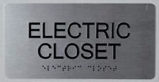 Electric Closet Tactile Touch Braille Sign Brush Silver 4x8 Ref0420