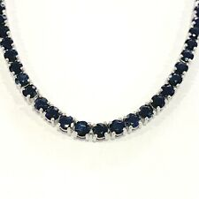 100% Natural 30.00Ct Top Quality Diamond Cut Sapphire Tennis Necklace,White Gold