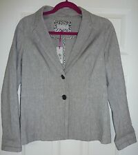 Per Una grey linen jacket blazer summer size 12 BNWT RRP £59 smart brand new