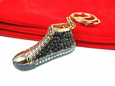 Black Baseball Boot Keyring Dangling Rhinestone Diamante Handbag Buckle Charm