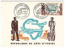 CARTE  MAXIMUN POSTE AERIENNE N° 22 COTE D IVOIRE PREMIER JOUR  AVIATION