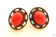 Vintage Glass Faux Coral Cabochon Silver Plated Filigree Pierced Earrings F513