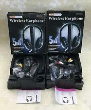 Lot of 2 Hi-Fi Wireless Headphone w/FM Radio Monitoring TV/PC /MP3 /CD/DVD