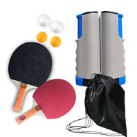 Portable Retractable Replacement Table Tennis Net Rack 2 Ping Pong Bats 4 Balls