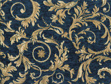 Drapery Upholstery Fabric Chenille Jacquard w/ Scrolling Leaves - Turquoise