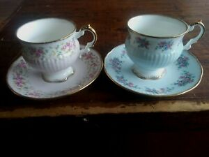 Lot of 2 Elizabethan Bone China Tea Cups And Saucers Pink Blue