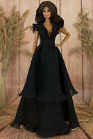 ELENPRIV black maxi chiffon dress w/ruffles for FR2 and similar dolls