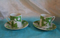 Vintage 2 Demitasse Cups and Saucers Lilly of the Valley by Fantasia Perfect
